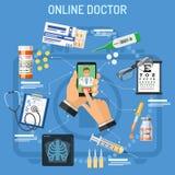 Σε απευθείας σύνδεση έννοια γιατρών Στοκ φωτογραφία με δικαίωμα ελεύθερης χρήσης