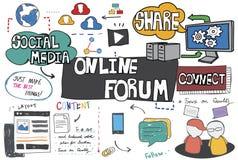 Σε απευθείας σύνδεση έννοια Διαδικτύου σύνδεσης δικτύωσης φόρουμ απεικόνιση αποθεμάτων
