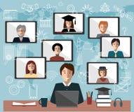 Σε απευθείας σύνδεση έννοια εκμάθησης Σπουδαστής, δάσκαλος και ομάδα εξ αποστάσεως εκπαίδευσης Στοκ Φωτογραφίες