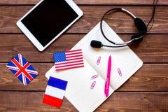 Σε απευθείας σύνδεση έννοια εκπαίδευσης στην εκμάθηση της τοπ άποψης υποβάθρου γραφείων γλωσσικού τρόπου ζωής Στοκ Εικόνες