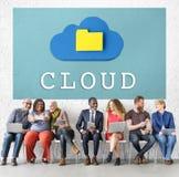 Σε απευθείας σύνδεση έννοια τεχνολογίας αποθήκευσης στοιχείων δικτύωσης σύννεφων Στοκ Εικόνα