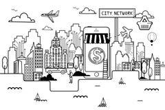 Σε απευθείας σύνδεση αγορές πόλεων δικτύων διανυσματική απεικόνιση