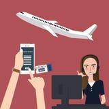 Σε απευθείας σύνδεση αεροπλάνο κράτησης μέσω της εφαρμογής πτήσεων τηλεφωνικών αερογραμμών κινητή υποδοχή κλήσης Στοκ Εικόνες