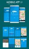 Σε απευθείας σύνδεση αμάξι κινητές App UI, UX και GUI οθόνες Στοκ Εικόνα