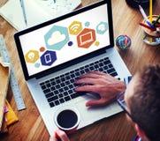Σε απευθείας σύνδεση γραφική έννοια Διαδικτύου τεχνολογίας σύννεφων Στοκ Εικόνα