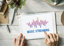 Σε απευθείας σύνδεση γραφική έννοια κυμάτων ροής μουσικής μουσικής ακουστική Στοκ Εικόνες