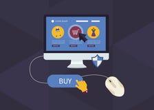 Σε απευθείας σύνδεση εικονίδια αγορών απεικόνιση αποθεμάτων