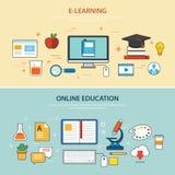 Σε απευθείας σύνδεση εκπαίδευσης και ε-εκμάθησης πρότυπο σχεδίου εμβλημάτων επίπεδο διανυσματική απεικόνιση