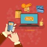 Σε απευθείας σύνδεση κινητές αγορές πώλησης δελτίων έννοιας ηλεκτρονικού εμπορίου αγορών Στοκ Εικόνα