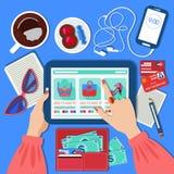Σε απευθείας σύνδεση κινητή έννοια αγορών στο επίπεδο σχέδιο απεικόνιση αποθεμάτων