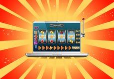 Σε απευθείας σύνδεση μηχάνημα τυχερών παιχνιδιών με κέρματα τζακ ποτ στο lap-top Στοκ εικόνες με δικαίωμα ελεύθερης χρήσης