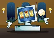 Σε απευθείας σύνδεση μηχάνημα τυχερών παιχνιδιών με κέρματα τζακ ποτ στον υπολογιστή Στοκ εικόνα με δικαίωμα ελεύθερης χρήσης