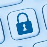 Σε απευθείας σύνδεση μπλε προστασίας δεδομένων εικονιδίων κλειδαριών Διαδικτύου ασφάλειας υπολογιστών Στοκ Εικόνες
