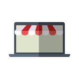 Σε απευθείας σύνδεση σκιά χρώματος ηλεκτρονικού εμπορίου πώλησης lap-top αγορών Στοκ Φωτογραφία