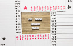 Σε απευθείας σύνδεση τέχνη έννοιας παιχνιδιών καρτών blackjack Στοκ εικόνες με δικαίωμα ελεύθερης χρήσης