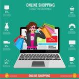Σε απευθείας σύνδεση infographics έννοιας αγορών στο διάνυσμα Γυναίκα από το lap-top Στοκ Εικόνα