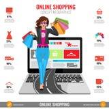 Σε απευθείας σύνδεση infographics έννοιας αγορών στο διάνυσμα Γυναίκα που περπατά από το lap-top Στοκ Εικόνα
