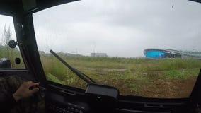 Σε αργή κίνηση άποψη από την καμπίνα hovercraft στο σύγχρονο στάδιο απόθεμα βίντεο