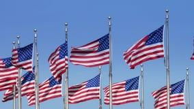 Σε αργή κίνηση αμερικανικές σημαίες στο μνημείο της Ουάσιγκτον φιλμ μικρού μήκους