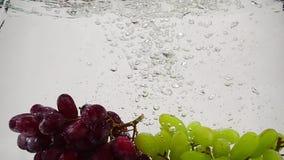 Σε αργή κίνηση βίντεο των κόκκινων και πράσινων σταφυλιών Οι δέσμες των ώριμων σταφυλιών βυθίζονται στο νερό με τις φυσαλίδες φιλμ μικρού μήκους