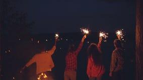 Σε αργή κίνηση οπισθοσκόπος των τουριστών νεαρών άνδρων και γυναικών που στέκονται στα δασικά sparklers καψίματος εκμετάλλευσης κ απόθεμα βίντεο