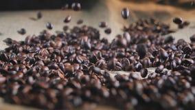 Σε αργή κίνηση παφλασμός φασολιών καφέ στην τοποθέτηση μέσα σε σάκκο απόθεμα βίντεο