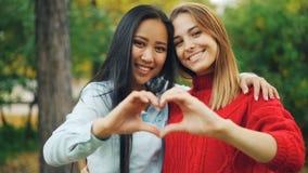 Σε αργή κίνηση πορτρέτο των όμορφων γυναικών καυκάσιων και Ασιάτη που στέκεται μαζί, που αγκαλιάζει και που κατασκευάζει την καρδ φιλμ μικρού μήκους