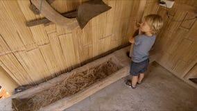 Σε αργή κίνηση πυροβολισμός ενός μικρού αγοριού που παίζει με τα αρχαία εργαλεία για την επεξεργασία ρυζιού απόθεμα βίντεο
