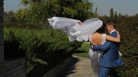 Σε αργή κίνηση στιγμές των ευτυχών newlyweds απόθεμα βίντεο