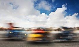Σε αργή κίνηση στις μοτοσικλέτες Στοκ Εικόνες