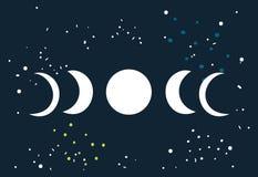 Σεληνιακός κύκλος φάσεων φεγγαριών έκλειψης με το διαστημικό υπόβαθρο αστεριών διανυσματική απεικόνιση