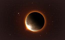 σεληνιακό φεγγάρι έκλειψης πέρα από τη θάλασσα Στοκ εικόνα με δικαίωμα ελεύθερης χρήσης