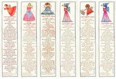 Σελιδοδείκτες με τους αγγέλους, απεικόνιση Watercolor, διανυσματική απεικόνιση