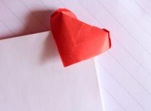 Σελιδοδείκτης καρδιών εγγράφου Origami στοκ φωτογραφία με δικαίωμα ελεύθερης χρήσης