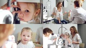 4 σε 1: Οφθαλμολογία παιδιού - όραση ελέγχων γιατρών για το μικρό κορίτσι φιλμ μικρού μήκους