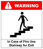 Σε περίπτωση κλιμακοστάσιου χρήσης πυρκαγιάς για το σημάδι εξόδων καθορισμένο διάνυσμα συμβόλων φλογών χρώματος Στοκ Εικόνες
