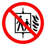 Σε περίπτωση Fire Do Not Use σημαδιού συμβόλων ανελκυστήρων, η διανυσματική απεικόνιση, απομονώνει στην άσπρη ετικέτα υποβάθρου E διανυσματική απεικόνιση