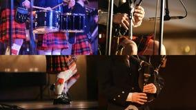4 σε 1: Σκωτσέζικη ορχήστρα - απόδοση στα bagpipes και τα τύμπανα απόθεμα βίντεο