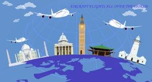 σε όλο τον κόσμο πτήσης διανυσματική απεικόνιση