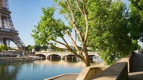 Σηκουάνας στο Παρίσι με τον πύργο του Άιφελ στην ανατολή απόθεμα βίντεο