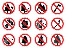 Σημάδια απαγόρευσης της δράσης στο δάσος με τα δέντρα, σύνολο, διάνυσμα διανυσματική απεικόνιση