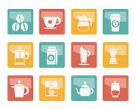 Σημάδια και εικονίδια βιομηχανίας καφέ πέρα από το χρωματισμένο υπόβαθρο στοκ φωτογραφία με δικαίωμα ελεύθερης χρήσης