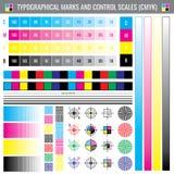 Σημάδια συγκομιδών εκτύπωσης βαθμολόγησης Διανυσματικό έγγραφο δοκιμής χρώματος CMYK διανυσματική απεικόνιση
