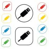 Σημάδια συνδετήρων USB που τίθενται, στους χρωματισμένους κύκλους, που απομονώνονται στο λευκό Επίπεδη απεικόνιση σχεδίου Εικονίδ Στοκ εικόνες με δικαίωμα ελεύθερης χρήσης