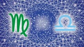 12 σημάδια zodiac κινούνται στα πλαίσια του mandala περιστροφής και του έναστρου ουρανού απόθεμα βίντεο