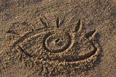 σημάδι άμμου ματιών Στοκ φωτογραφία με δικαίωμα ελεύθερης χρήσης