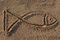 σημάδι άμμου ψαριών Στοκ Φωτογραφίες