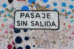 Σημάδι αδιεξόδων στα ισπανικά σε Valparaiso, Χιλή, Νότια Αμερική Στοκ εικόνα με δικαίωμα ελεύθερης χρήσης
