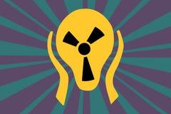 Σημάδι ακτινοβολίας προσοχής υπό μορφή κεφαλιού τρόμου κραυγής Στοκ Εικόνες