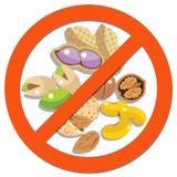 Σημάδι απαγόρευσης με τα φασόλια και τα φυστίκια φασολιών Στοκ Φωτογραφία